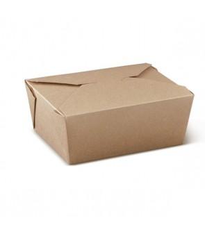 Contenitore da asporto in cartoncino kraft avana per alimenti grassi e umidi