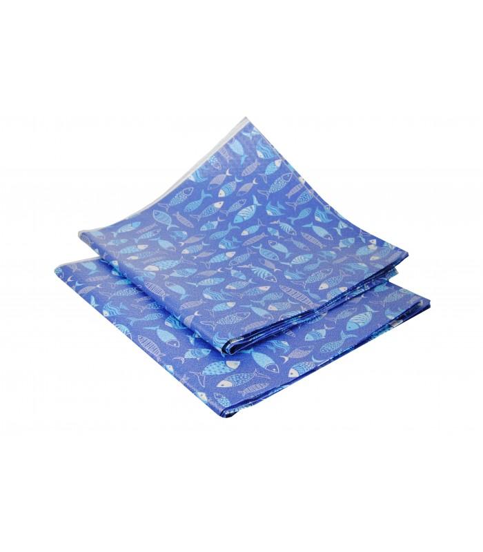 TOVAGLIA 100X100 BLUE FISH