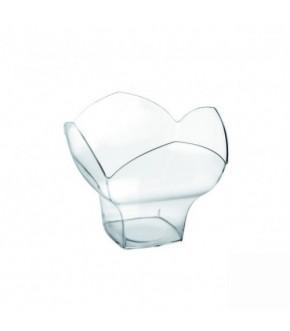 Coppetta in plastica trasparente a forma di fiore monoporzione