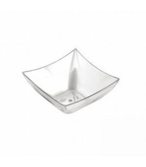 Coppetta in plastica trasparente di forma quadrata monoporzione