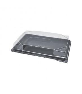 Vaschette nere in plastica per sushi con coperchio trasparente