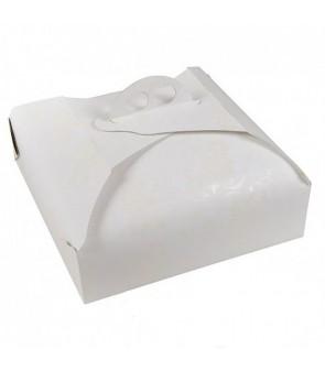 Scatola porta torta in cartoncino bianco stampa ramage