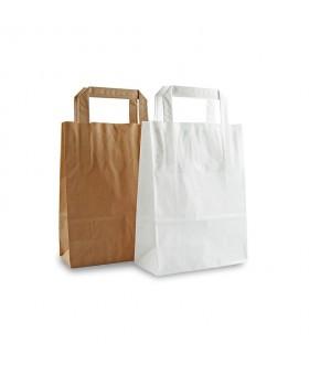 Busta in carta con manico a piattina - Bianco o Avana