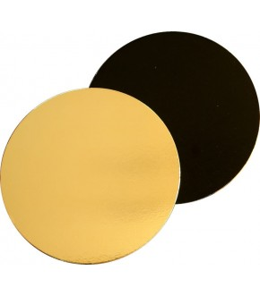 Gold and black round cake board