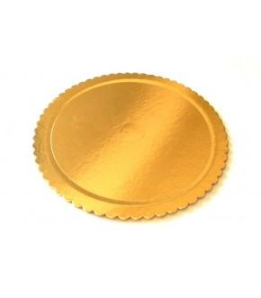 Piatto sottotorta rotondo in cartone con bordino laterale colore oro