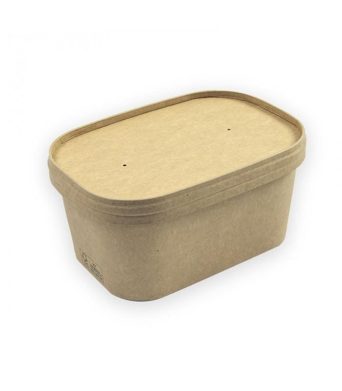 CONTENITORE FOOD BOX IN CARTONCINO AVANA CON COPERCHIO
