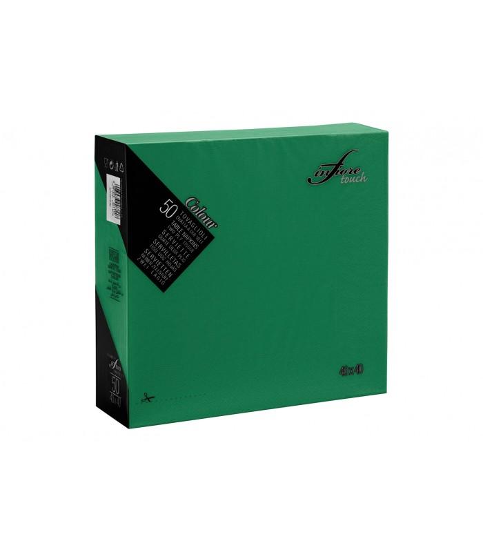 Tovaglioli in carta verdi 40x40, pura cellulosa due veli, vari colori