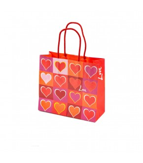 Rope red paper bag with hearts