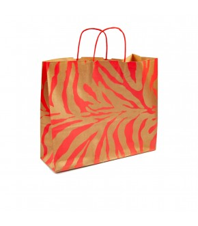 zebra-striped gold and red  paper carrier bag