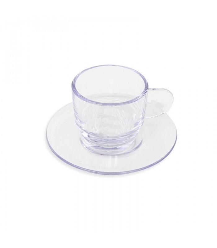 TAZZINA CAFFE' CON PIATTINO IN PLASTICA RIGIDA