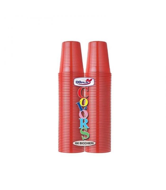 BICCHIERI IN PLASTICA COLORATA ROSSA 200 CC
