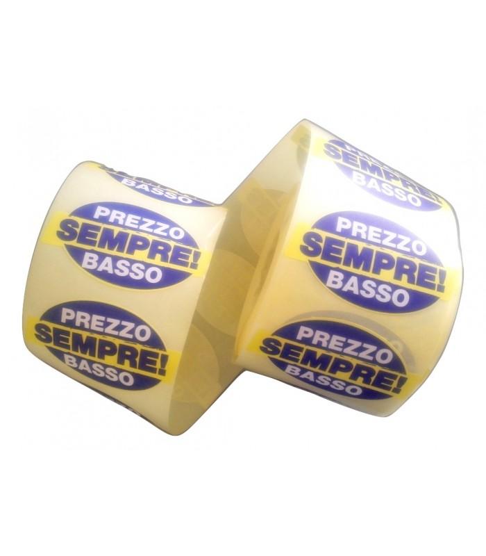 """Rotolo etichetta adesiva """"PREZZO SEMPRE BASSO"""" da 1000 pz"""
