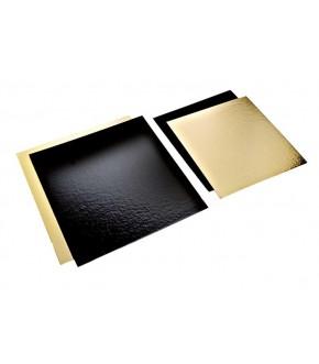 Stecche sottotorta quadrate in cartone oro/nero in varie misure