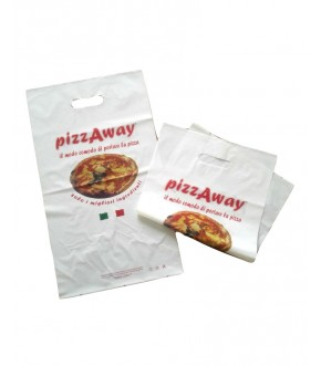 Printed plastic carrier bag for pizza pizzaway