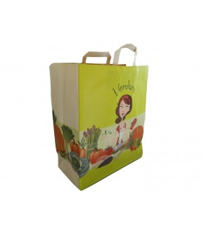 Vegetables paper bag with flat handle