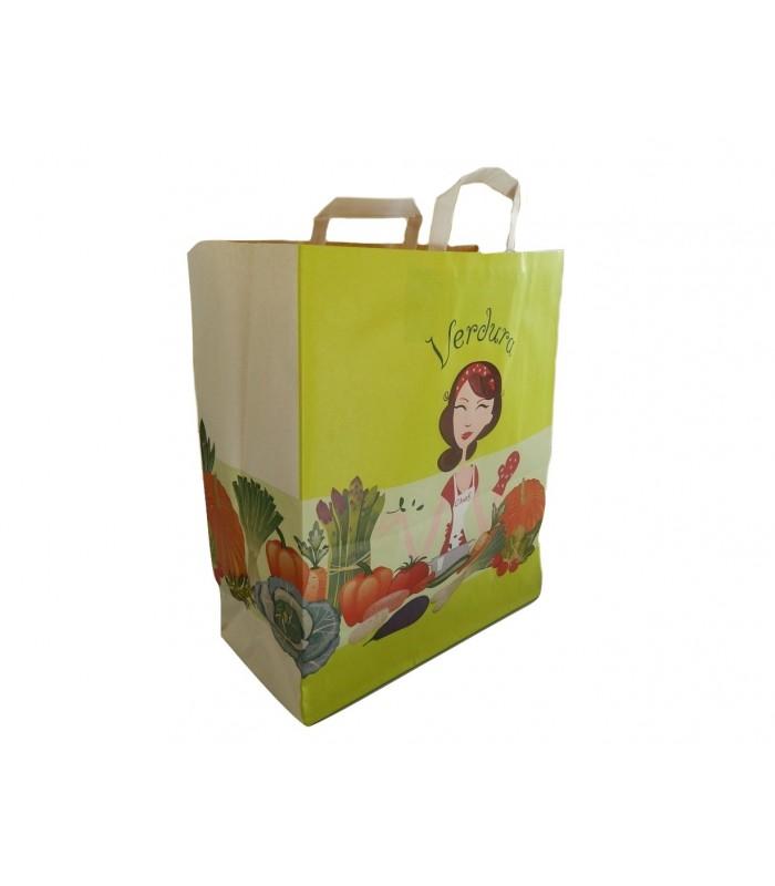 Busta in carta stampa frutta e verdura con manico a piattina