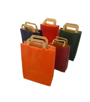 Coloured paper bag with flat handle