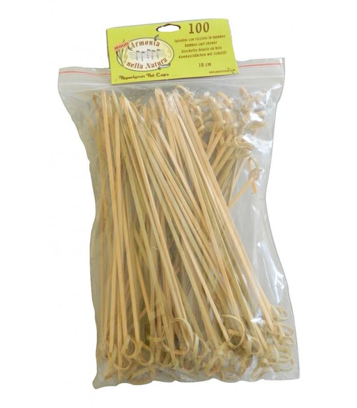 Spiedini con ricciolo in bamboo monouso